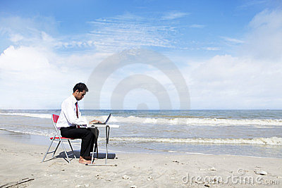 Businessman working seriously