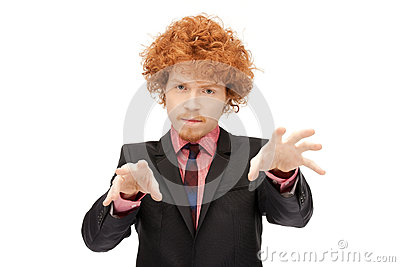 Businessman working with something imaginary Stock Photo
