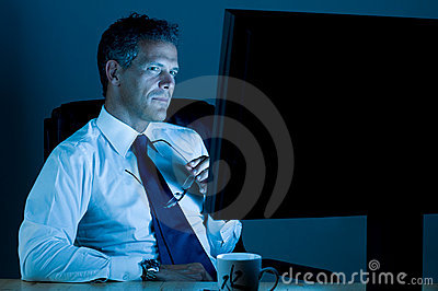 Businessman working till late