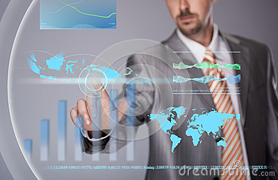 Businessman working with touchscreen