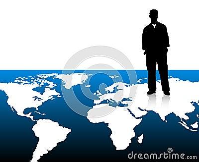 Businessman on world map