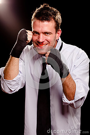 Businessman with wrapped hands
