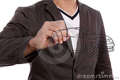 Businessman write car.