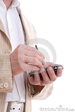 Businessman write message on PDA