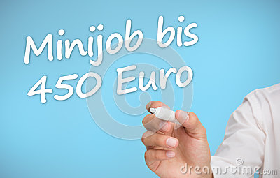 Businessman writing with a marker minijob bis 450 euro