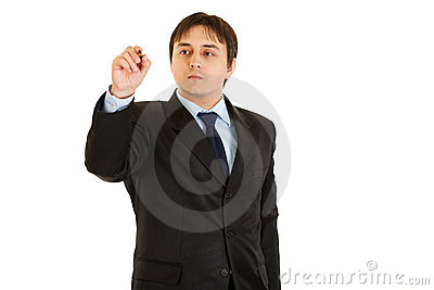 Businessman writing pen on abstract screen