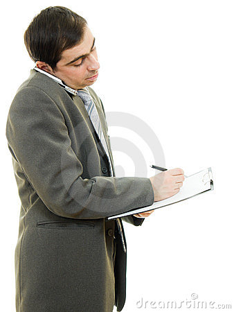 Businessman writing on the tablet pen