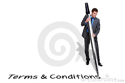 Businessman writing Terms and Conditions with a gi