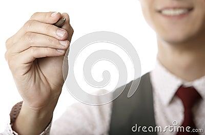 Businessman writing on a virtual whiteboard