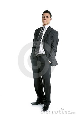 Businessman young stand up, full length on white