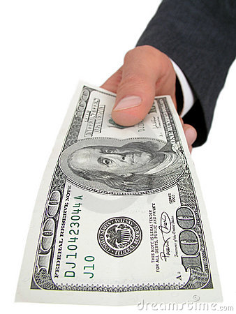 Businessman's Hand Offering One Hundred Dollar Bill