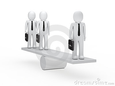 Businessmen balance on seesaw