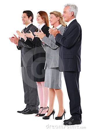 Businessmen and businesswomen applauding