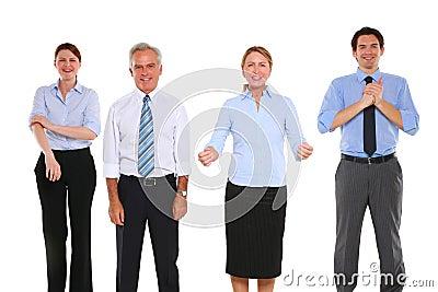 Businessmen and businesswomen exulting
