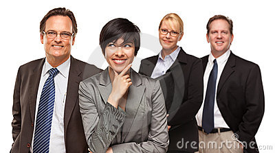 Businessmen and Businesswomen on White