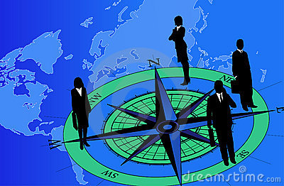 Businessmen on Compass