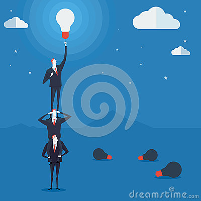 Free Businessmen Do A Pyramid Of Acrobats Turn On A Lamp. Royalty Free Stock Image - 61010476