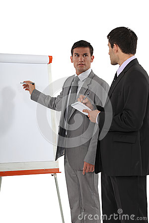 Businessmen with a flipchart