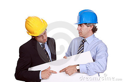 Businessmen with hardhats and blank cardboard