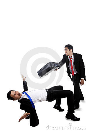 Businessmen having a fight