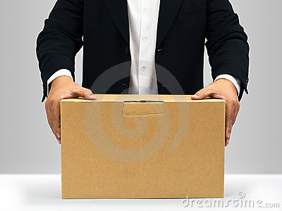 Businessmen Hold down on the brown paper box