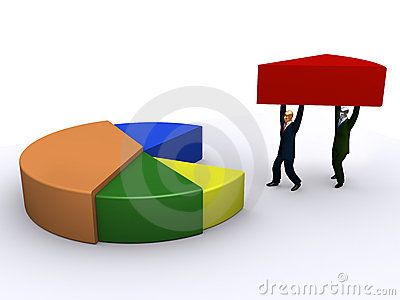 Businessmen holding piece of pie-chart