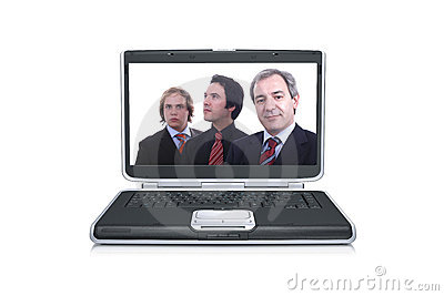 Businessmen inside a black laptop screen