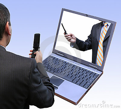 Businessmen interacting using the latest technology