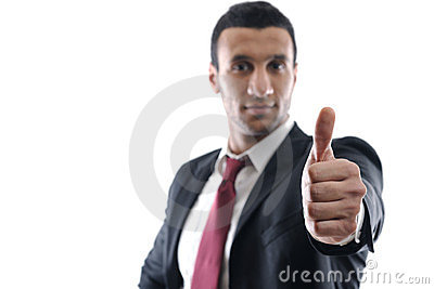 Businessmen making his thumb up saying OK