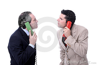 Funny men talking on the phone