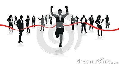 Businessmen running