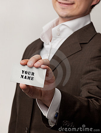 Businessmen show visit card