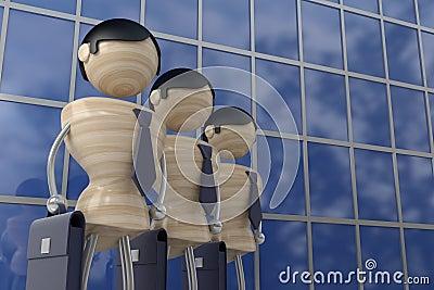 Businessmen stand