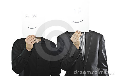 Businessmen in suits with paper sheets, emoticons