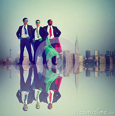 Businessmen Superhero Power Success City Concept