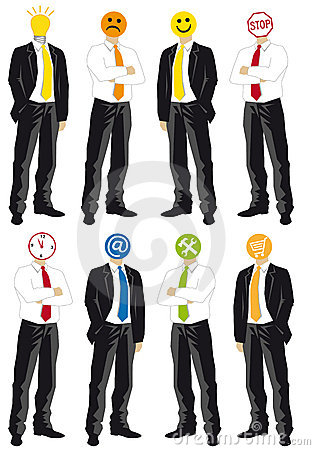 Businessmen with symbol heads