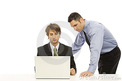 Businessmen use a laptop