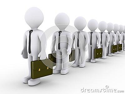 Businessmen waiting in line