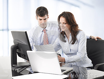 Businessmen working with his colleague