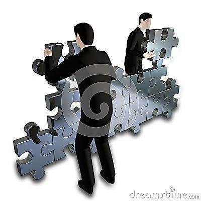Businessmens bilding puzzle