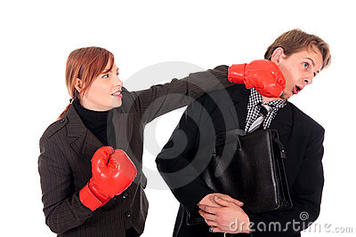 Businesspeople boxing gloves