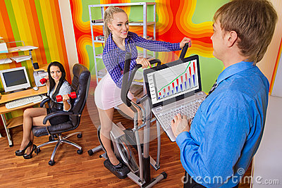 Businesspeople doing exercise