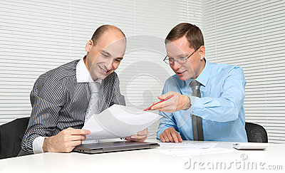 Businesspeople having a discussion in office