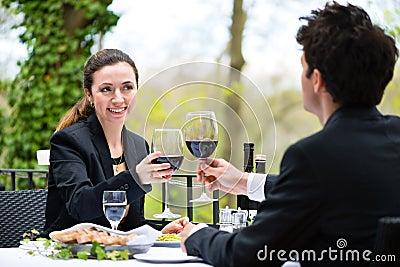 Businesspeople having lunch in restaurant