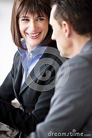 Businesspeople Speaking Friendly