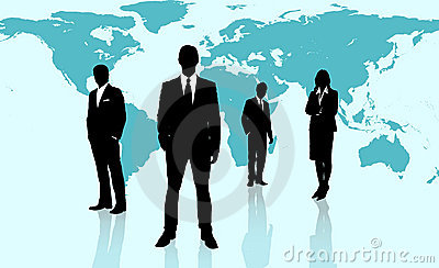 Businesspeople standing against a blue world map