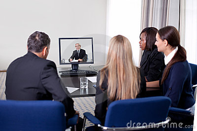 Businesspeople at a video conference