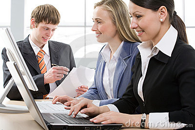 Businesspeople working in a modern office