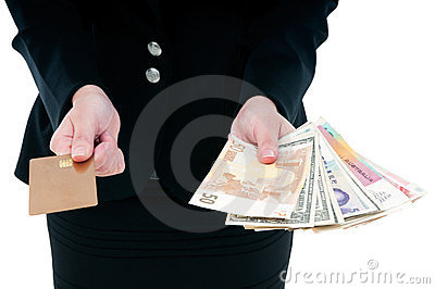Businessperson Holding Credit Card And Cash