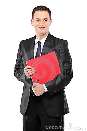 A businessperson holding a folder